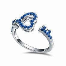 奥地利水晶戒指--锁心钥匙(蓝色)