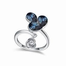 奥地利水晶戒指--花雨(墨蓝)