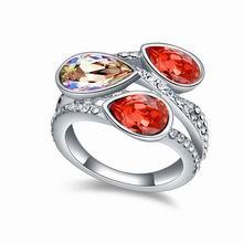 奥地利水晶戒指--玲珑之美(水莲红)