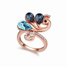 奥地利水晶戒指--凤凰展翅(墨蓝+海蓝+玫瑰金)