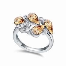 奥地利水晶戒指--如花似朵(金色魅影)