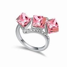 奥地利水晶戒指--爱的立方体(浅玫红)