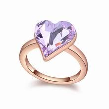 奥地利水晶戒指--心诺(紫罗兰+玫瑰金)