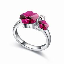 奥地利水晶戒指--腊梅(紫红)