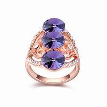 奥地利水晶戒指--华丽一族(藕荷紫+玫瑰金)