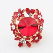 欧美夸张魅力小花朵戒指(红色)