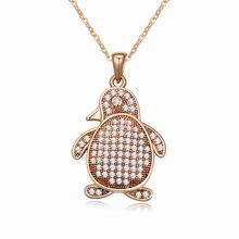 AAA级微镶锆石项链--企鹅宝宝(白色+玫瑰金)