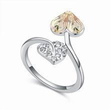 奥地利水晶戒指--心叶(夜光绿)