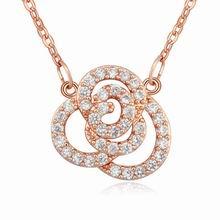 AAA级微镶锆石项链--镂空玫瑰(白色+玫瑰金)