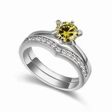 AAA级微镶锆石情侣戒指--甜蜜相伴(橄榄绿)