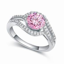 AAA级微镶锆石戒指--琴瑟之好(粉红)