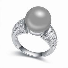 AAA级微镶锆石珍珠戒指--敦煌之恋(深灰)