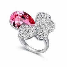奥地利水晶戒指--醉花荫(玫红)