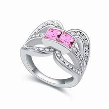 奥地利水晶戒指--十面围城(玫红)