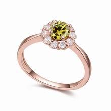 AAA级微镶锆石戒指--爱在花季(橄榄绿)