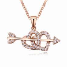 AAA级微镶锆石项链--一箭穿心(白色+玫瑰金)