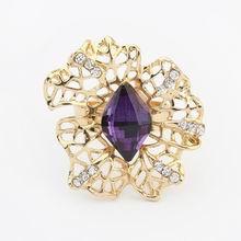 欧美奢华宝石镂空时尚戒指(紫色)
