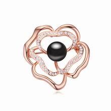 奥地利珍珠胸针--玫瑰吐珠(黑色+玫瑰金)