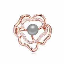 奥地利珍珠胸针--玫瑰吐珠(深灰+玫瑰金)
