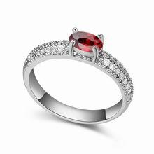 AAA级微镶锆石戒指--月夜传奇(石榴红)