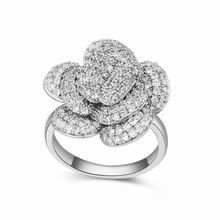 AAA级微镶锆石戒指--生命之花(白色)