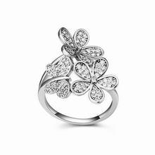 AAA级微镶锆石戒指--舞蝶戏花(白色)