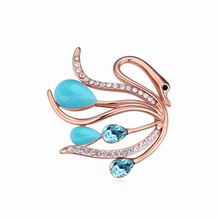 奥地利水晶胸针--天鹅之羽(海蓝+玫瑰金)