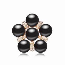 奥地利珍珠胸针--珠联璧合(黑色+香槟金)