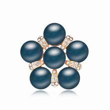 奥地利珍珠胸针--珠联璧合(深蓝+香槟金)