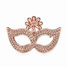 奥地利水晶胸针--面具下的诱惑(浅蜜桃+玫瑰金)