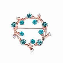 奥地利水晶胸针--柳枝环(海蓝+蓝锆石+玫瑰金)