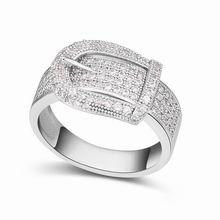 AAA级微镶锆石戒指--皮带(白色)