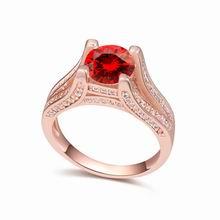 AAA级微镶锆石戒指--爱的桥梁(石榴红+玫瑰金)