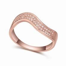 AAA级微镶锆石戒指--暖流(白色+玫瑰金)