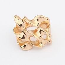 欧美朋克风格个性扭曲戒指(金色)