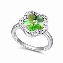 奥地利水晶戒指--如梦花期(橄榄)
