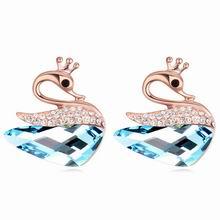 奥地利水晶耳环--傲美天鹅(玫瑰金+海蓝)