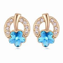 奥地利水晶耳环--傲梅 (香槟金+海蓝)