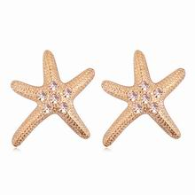奥地利水晶耳环--浪漫海星(玫瑰金+浅蜜桃)