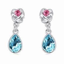 奥地利水晶耳环--玫瑰水滴(海蓝)