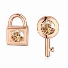奥地利水晶耳环--锁心锁玉(香槟金+金色)