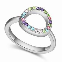 奥地利水晶戒指--格子时光(白金+彩色)