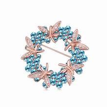 奥地利水晶胸针--色彩绚丽(玫瑰金+海蓝)