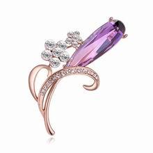 AAA级锆石胸针--荷兰郁金香(玫瑰金+紫色)