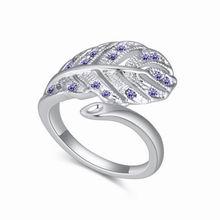 奥地利水晶戒指--西风落叶(藕荷紫)