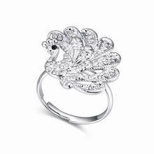 奥地利水晶戒指--孔雀(白色)