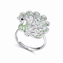 奥地利水晶戒指--孔雀(橄榄)