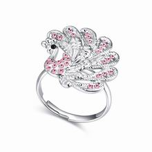 奥地利水晶戒指--孔雀(浅玫红)