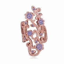奥地利水晶戒指--蔷薇屏(玫瑰金+藕荷紫)