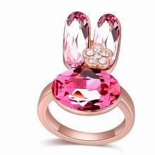 奥地利水晶戒指--小兔子乖乖(玫瑰金+玫红)